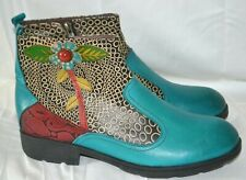Women's FuNkY SOCOFY Ankle Boots Blue Black Floral Patterned sz.42