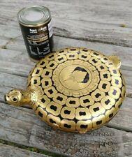 More details for large burmese myanmar tortoise gold & black laquer papier mache pot box 24cm