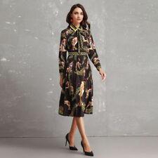 TWE59 Womens Designer Inspired Vintage Pleated Bow Tie Long Sleeve Dress 2019