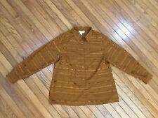 COLDWATER CREEK Women's Brown Semi-Sheer Button Down Blouse Shirt Top Size L