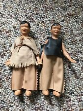 TWO VINTAGE PLASTIC NATIVE AMERICAN DOLL HOUSE SIZE DOLLS