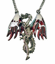 Real Metal Jewelry	Red & White Hand Painted Dragon Necklace