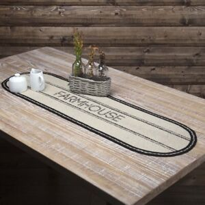 """VHC Brands Farmhouse 48""""x13"""" Table Runner White Stenciled Kitchen Table Decor"""