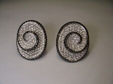 Magnificent Estate 14K White Gold Black Diamond Swirl Earrings