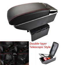 1x Telescopic Style Double-layer Car Central Console Tray Armrest Box PU Leather