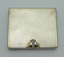 Tiffany & Co. American Art Deco 14K Gold & Silver .925 Gem Set Cigarette Case