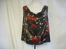 Ladies Top Essence UK 20, EUR 48, black/red & golden glitter, cowl neck 1043