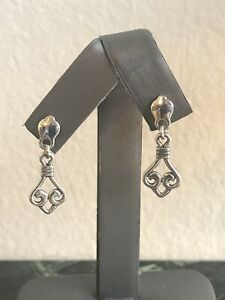 RETIRED JAMES AVERY Sterling Silver Scroll Drop Earrings