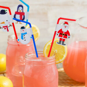 20 pcs Disposable Straws Christmas Color Soft Drinking Straw for Home Restaurant