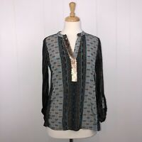Tiny Anthropologie Women's Patterned Blouse Sequin Detail V Neck Size Small