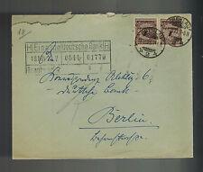1923 Breslau Germany Inflation cover to Berlin Deutsche Bank $12 Million RM