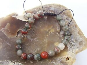 Natural Gemstone Men's Macrame beaded bracelet all 8mm African Bloodstone beads