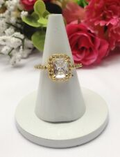 Wedding Engagement Ring U.K. Size:N Gold Plated Ring CZ Cubic Zirconia