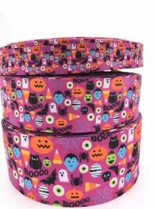 Halloween Pumpkin Ghost Icons Grosgrain Ribbon 75mm 38mm 25mm Widths