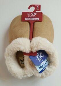 DF Dearfoams Memory Foam Slippers Tan w/ Faux Fur Lining  Small  5-6
