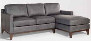Harlow Left Facing Grey Leather Sectional 2 Piece Sofa Sectional Real Leather