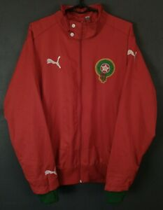 PUMA MEN'S MOROCCO NATIONAL MAROC JACKET TRACK SOCCER FOOTBALL RED SIZE L LARGE