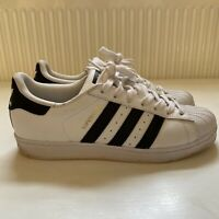 Adidas Superstar Black White Leather Trainers Mens Size 7/41 B02