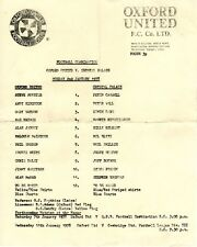 Oxford United v Crystal Palace Reserves Programme 2.1.1978