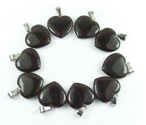 Ten Black Obsidian heart pendants bulk jewellery making crafts Natural Stone