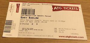 GARY BARLOW Used Concert Ticket (Edinburgh Playhouse 2018) Collectable!