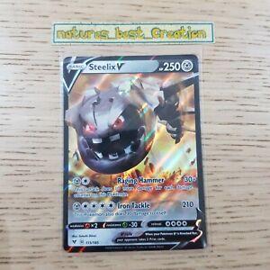 MINT/NM Condition Steelix V 115/185 Holo/Shiny Pokemon Card, SWSH Vivid Voltage