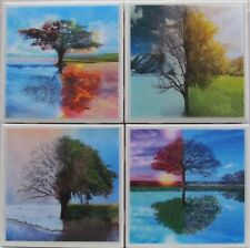 Natural Stone Ceramic Tile Marble Drink Coasters - Set of 4 - Trees 1 A
