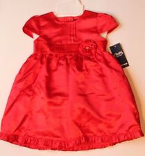 Chaps Solid Red Satin Christmas Holiday Dress Infant Baby Girl Size 18 Months
