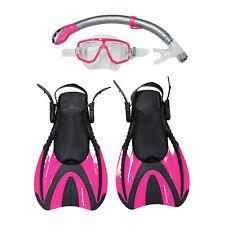 Snorkel Master Snorkeling Adult Mask, Snorkel, & Fins Set, Hot Pink, Medium