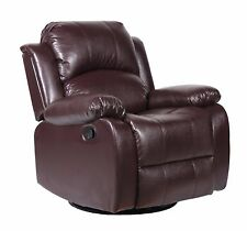 Bonded Leather Rocker and Swivel Recliner Living Room Chair in Brown