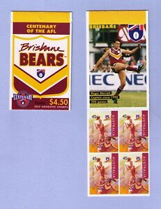 1996 Centenary of AFL Brisbane Bears $4.50 booklet 10x45c stamps MNH