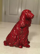 Vintage ZSOLNAY Red Eosin Glazed Porcelain Cocker Spaniel Dog Figurine Hungary