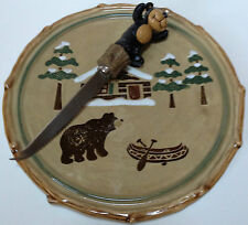 Sonoma Lodge Cheese Plate Platter And Knife Set Bear Cabin Canoe Pine Trees