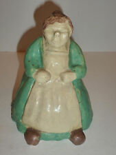 Vintage Pottery Figurine, Woman with Green Dress and Apron, L. DeCoster 1933