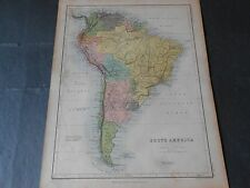 1860 COLORED ANTIQUE MAP OF SOUTH AMERICA ENGRAVED BY A.K.JOHNSTON