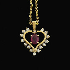 """Beautiful 14k Diamond Open Heart Accents Genuine Ruby Pendant with 18"""" chain Set"""