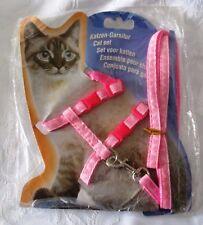 Cat -Rabbit-Kitten Adjustable Harness & Lead PINK - Adjustable Nylon Pet Cat