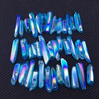 Blue quartz titanium rainbow aura lemurian crystal wand point healing 50g
