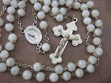 Vintage Catholic Rosary 6mm pearly white glass beads lovely Crucifix medal