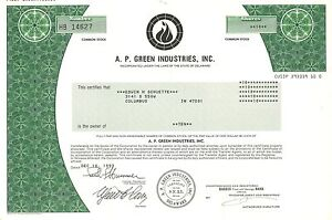 A.P. Green Industries > asbestos old stock certificate share