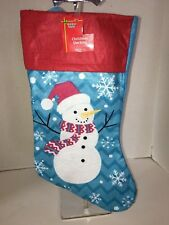 "Holiday Style Blue & Red Top Snowman Snowflake Design 16"" Christmas Stocking NWT"