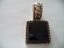W/Large Onyx, Intricate Design Magnificent Vintage Sterling Silver Pendant