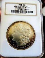 Morgan Silver Dollar 1921 P Old Fatty NGC MS 63PL++++ Under grade Looks DMPL