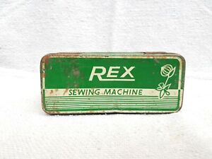1950s Vintage Old REX Sewing Machine Accessories Green White Color Tin Box