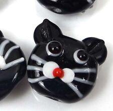 Lampwork Handmade Glass Black Cat Head Beads (4)