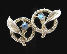 FEATHER in Circle Ring AB RHINESTONE Screw Back EARRINGS Vintage Goldtone 1""