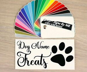 Dog Puppy Treat Chew Box Jar Personalised Sticker With Name Vinyl Decal Adhesive
