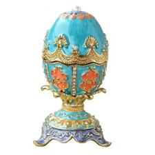 Blue Russian Faberge inspired egg jewelry trinket ring box