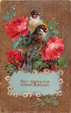 Gorgeous Roses by Colorful Birds on Old Gelatin Birthday PC-Gold Textured Bckgrd
