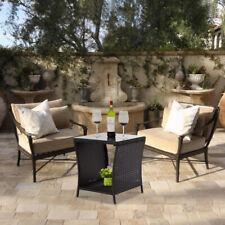 Black Outdoor Square Wicker Rattan Side Tea Table Patio Furniture, w/Glass Top